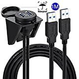 USB 3.0 Panel Flush Cable - Alait 1 Meter 3 Feet Dual USB Extension Mount, Panel Mount Cable, For Car, Boat, Motorcycle