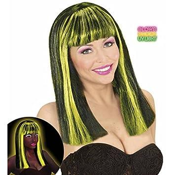 WIDMANN wid74988 Patsy – Peluca negra con cabello amarillas fluorescentes, talla única