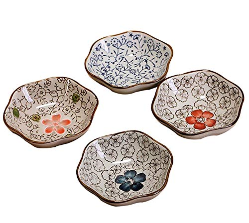 DEBON Set of 4 Asian Style Plate Hand Painted Flower Glaze Porcelain Condiment Dishes Sushi Serving Dish Appetizer Dessert Salad Snack Candy Fruit Multi Purpose Platter Tealight Holder Jewelry Tray