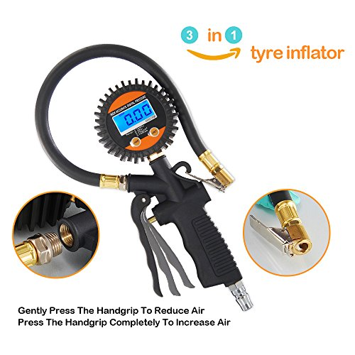 Digital Tire Pressure Gauge, NANHONG Auto Tire Inflator with Gaug,225 PSI with Heavy Duty Air Hose,3-in-1 Inflation Gun For Cars Motorcycle Rv Suv Truck TPMS Bike (Black)