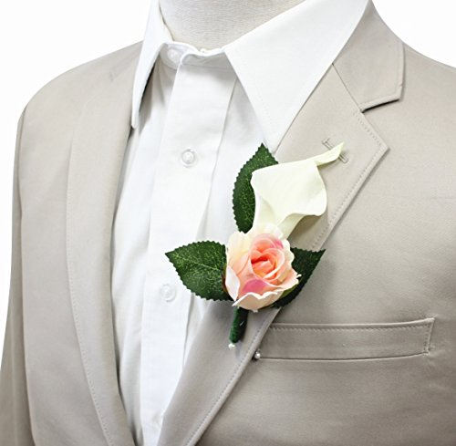 - Boutonniere For Wedding And Prom - Artificial Flowers - nice quality calla lily and rose for wedding and prom (Peach Pink)