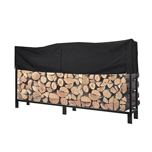 Pinty Ultra Duty Outdoor Firewood Log Rack with Cover 8 Foot Fireplace Wood Holder (Rack with Cover, 8 ft)