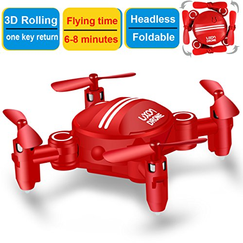 Drone for Kids Headless Mini RC Quadcopters Foldable Remote Control Helicopter Drones 2.4Ghz 6-Axis Gyro 4 Channels Indoor Flying Airplane With 3D Flip One Key Return for Beginner Drone Training (Red)