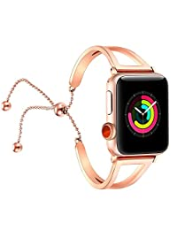 """Apple Watch Bands 38mm Woman,Tech Bergen Luxury Stainless Steel Cuff Replacement Wristband iWatch Bangle Strap for Apple Watch Series 3 & 2 & 1 (Rose Gold, 38MM (5.35""""-8.3""""))"""