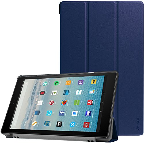 All-New Amazon Fire HD 10 Case (2017 7th Generation), ProCase Slim Light Smart Cover Stand Hard Shell Case for Fire HD 10.1 Tablet (7th Gen, 2017 release) -Navy