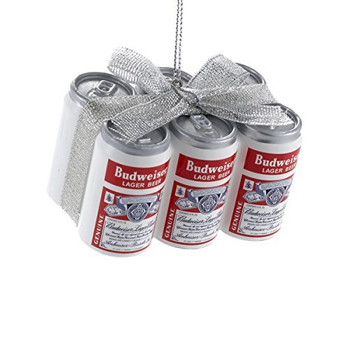 Beer Christmas Ornament - Kurt Adler Budweiser Vintage Cans with Bow Ornament #AB1151