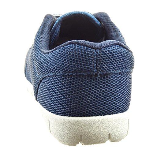 Sopily - Scarpe da Moda Sneaker alla caviglia donna Tacco a blocco 2.5 CM - Blu