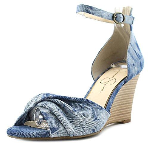 Jessica Simpson Womens lindella Open Toe Casual Platform Sandals, Blue, Size 8.5