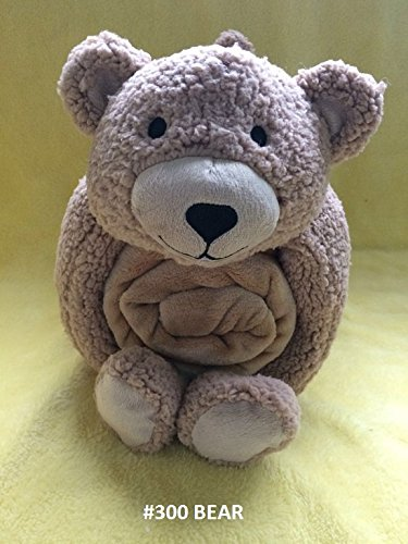 1 PC Snuggle Me Sherpa Large Soft Baby Blanket & Plush Pillow Stuffed Animals Sleeper Toys Throw Blanket Avilabale in Multiple Designs(Bear)