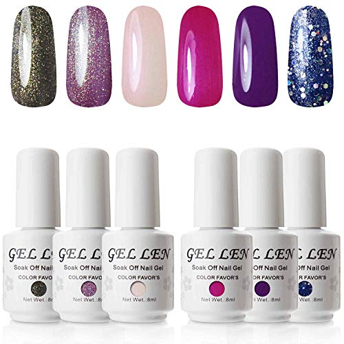- Gellen UV Gel Nail Polish Set Shell Shimmering Colors Collection - 6 Colors/Kit Nail Art Nail Gel Manicure