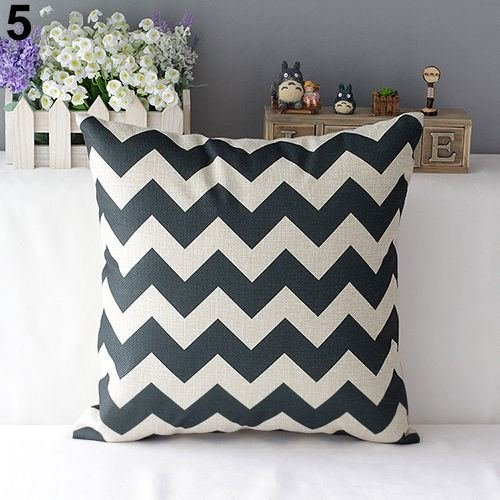43cm Square Pillow Cushion Cover Letter Print Linen Pillowcase (Pattern 3) - 6