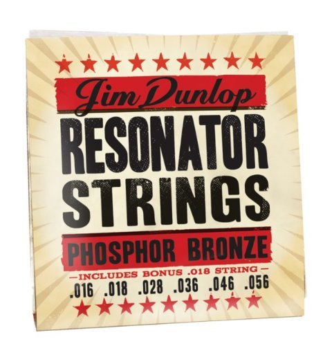 Dunlop DOP1656 Resonator Strings, Phosphor Bronze, Medium.016–.056, 6 Strings/Set