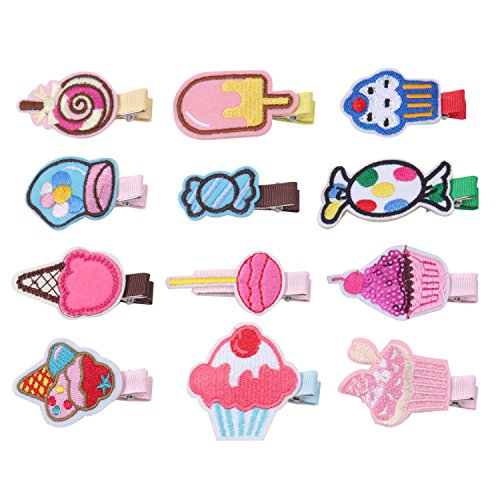 KOONY Baby Girls Hair Clips Cartoon Design Embroidered Patches Barrettes 12pc (Candy) ()