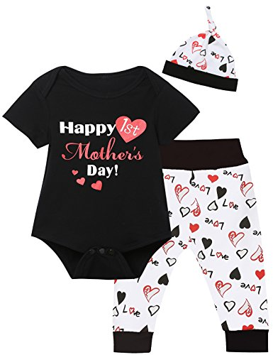 Baby Boys' Mother's Day Outfit Set Short Sleeve Romper Pants with Hat