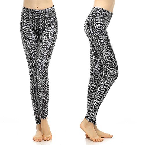 SOUTEAM Womens Yoga Leggings with Pocket Lightweight Fitness Pants, Monochrome Snakeskin, Large