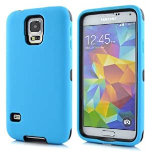 Hot Robot Series 3-Pieces Silicone Back Protective Skin Cover Case For Samsung Galaxy S5 i9600- 1 Pack - Retail Packaging - Blue/Black