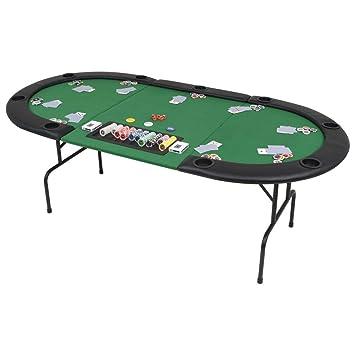 9 Ovalado De Jugadores Verde Póker Plegable Mesilla Vidaxl Tablero LR54jA