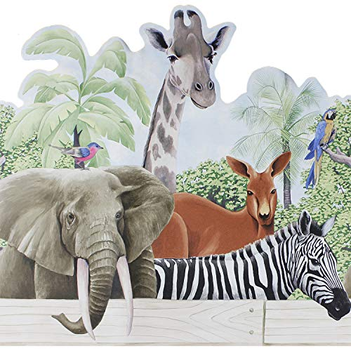 Jungle Animals Wallpaper Border - Jungle Animals Wall Accent Border - Zebra Elephant Wallpaper Accent Mural by store51