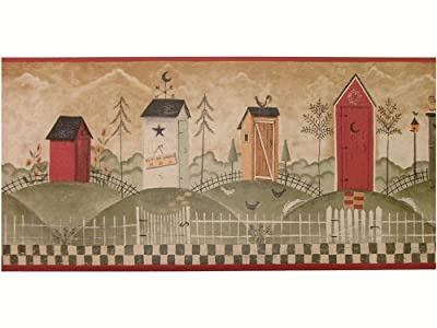 Wallpaper Border Americana Country Outhouse Out House Border Green Tan Reds