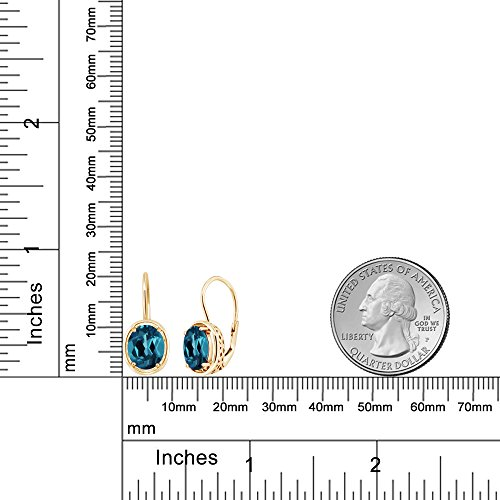 Gem Stone King 18K Yellow Gold Plated Silver London Blue Topaz Dangle Earrings, 3.60 cttw Gemstone Birthstone Oval 9X7MM