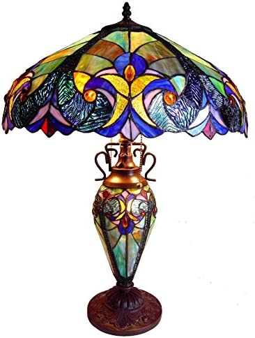 RADIANCE Goods Tiffany-Style 3 Light Victorian Double Lit Table Lamp 18 Shade
