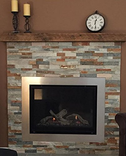 Amazon com  Reclaimed Barnwood Beam Fireplace Mantel Wood 4 x6 x72 Home Kitchen