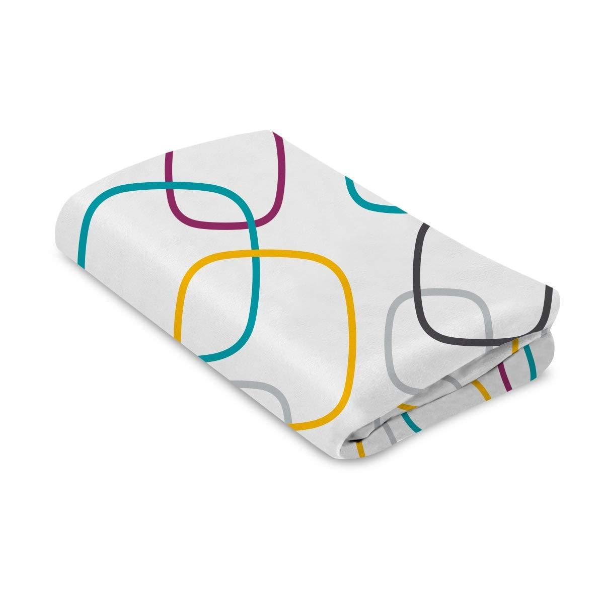 4moms breeze playard waterproof, machine washable playard sheets - soft, plush fabric - multi/white