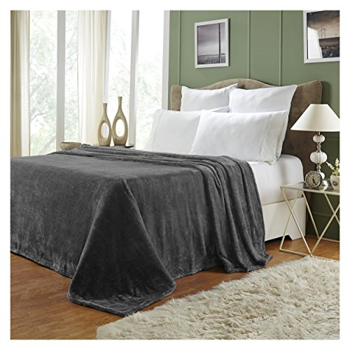 Blanket Silky Fleece (Superior Quality All-Season, Plush, Silky Soft, Fleece Blankets and Throws, Charcoal, Twin)