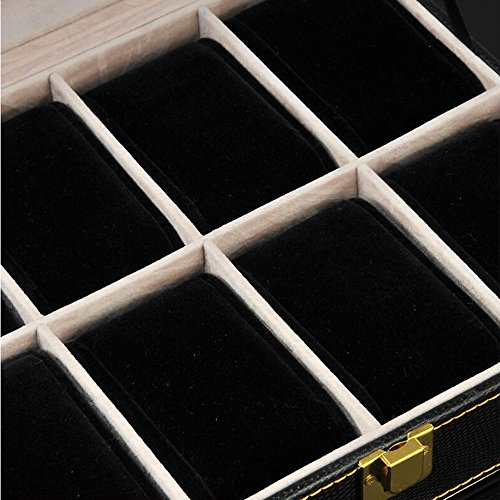Watch Box Wood 8 Slots Watch Jewelry Display Storage Boxes with Glass Top and Removal Storage Pillows with Lockable Keys,A-L25.5W20.5H8.5cm by Watch Boxes (Image #3)