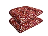 Bossima Indoor/Outdoor Red Damask Wicker Seat Cushions, set of 2,Spring/Summer Seasonal Replacement Cushions For Sale