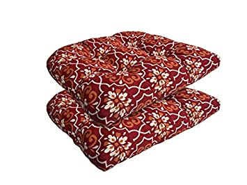 Bossima Indoor Outdoor Wicker Seat Cushion, Set of 2,Spring Summer Seasonal Replacement Cushions Red Damask