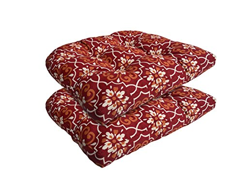 Bossima Indoor/Outdoor Red Damask Wicker Seat Cushions, set of 2,Spring/Summer Seasonal Replacement Cushions