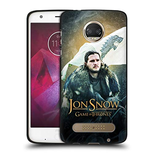 (Official HBO Game of Thrones Jon Snow Horse Battle of The Bastards Black Soft Gel Case for Motorola Moto Z2)