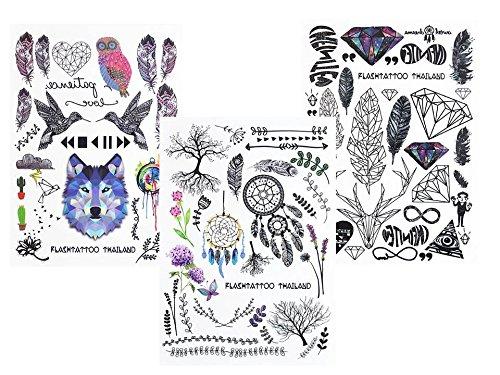 3 Sheet Metallic Temporary Tattoos Graphic Tattoos Boho 3 Beyond boho3