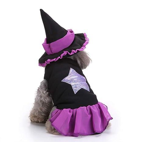 CautPYa - Vestido de Bruja para Mascotas, para Perro, Cachorro, Vestido, Fiesta