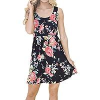 Ruhiku GW 2018 Womens Dress Casual Floral Print High Waist Draped Sleeveless Vest Tank Mini Dress