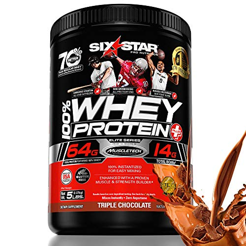 Six Star Elite Series 100% Whey Protein Powder Plus Muscle Builder, 32g Ultra-Pure Whey Protein Powder, Triple Chocolate, 5 Pound