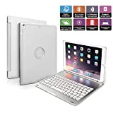iPad Pro 10.5 Keyboard Case, Penban Wireless Bluetooth 135° Rotatable Aluminum Shell Smart Folio Keyboard Case Cover with 7 Colors Backlit for Apple iPad Pro 10.5 inch (Silver)