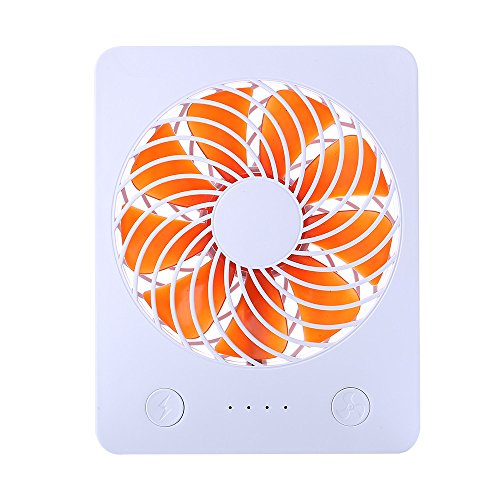 "Mini USB Desk Fan RUNNEPT Portable Rechargeable Fan Battery Powered with Power Bank 4"" 3 Speeds Adjustable(Orange) by RUNNEPT"