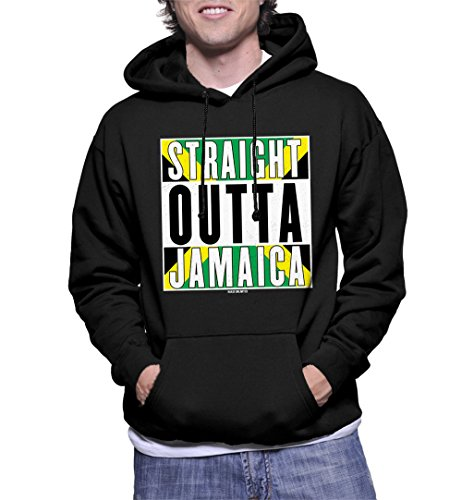 (HAASE UNLIMITED Men's Straight Outta Jamaica Hoodie Sweatshirt (Black,)