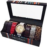 Womens Watch Set Seven Interchangeable Faux Leather Straps Goldtone Dial Designer Jade LeBaum Ladies Wrist Watch - JB202753G