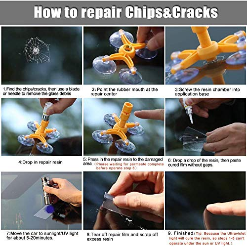 Windshield Repair Kit by Clearshield - DIY Auto Glass Rock Chip Repair Kit for Star Horseshoe Bull's Eye Chips or Cracks - No Need to Replace the Whole Windshield - with Instructions (3 Pack) by Clearshield (Image #2)