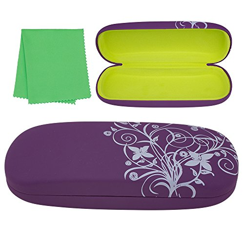 Glasses Eyeglasses Sunglasses Shell (Hard Eyeglass Case, Floral Designed Protective Clamshell Holder for Glasses and Sunglasses, with Microfibre Cleaning Cloth - Purple - by OptiPlix)