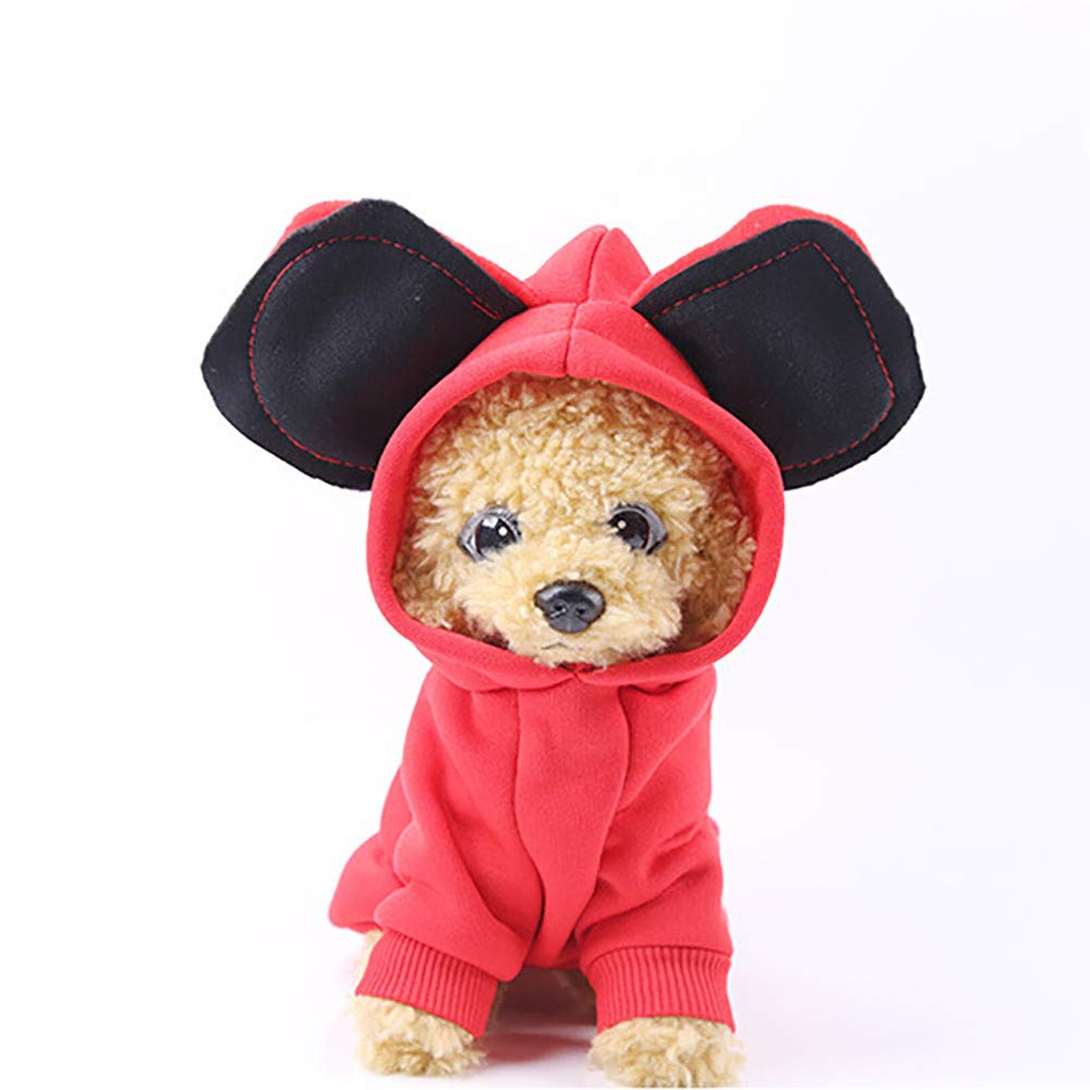 Small Dog Clothes Winter Wakeu Pet Sweatshirts with Hooded Ear Sweater (S, Red)