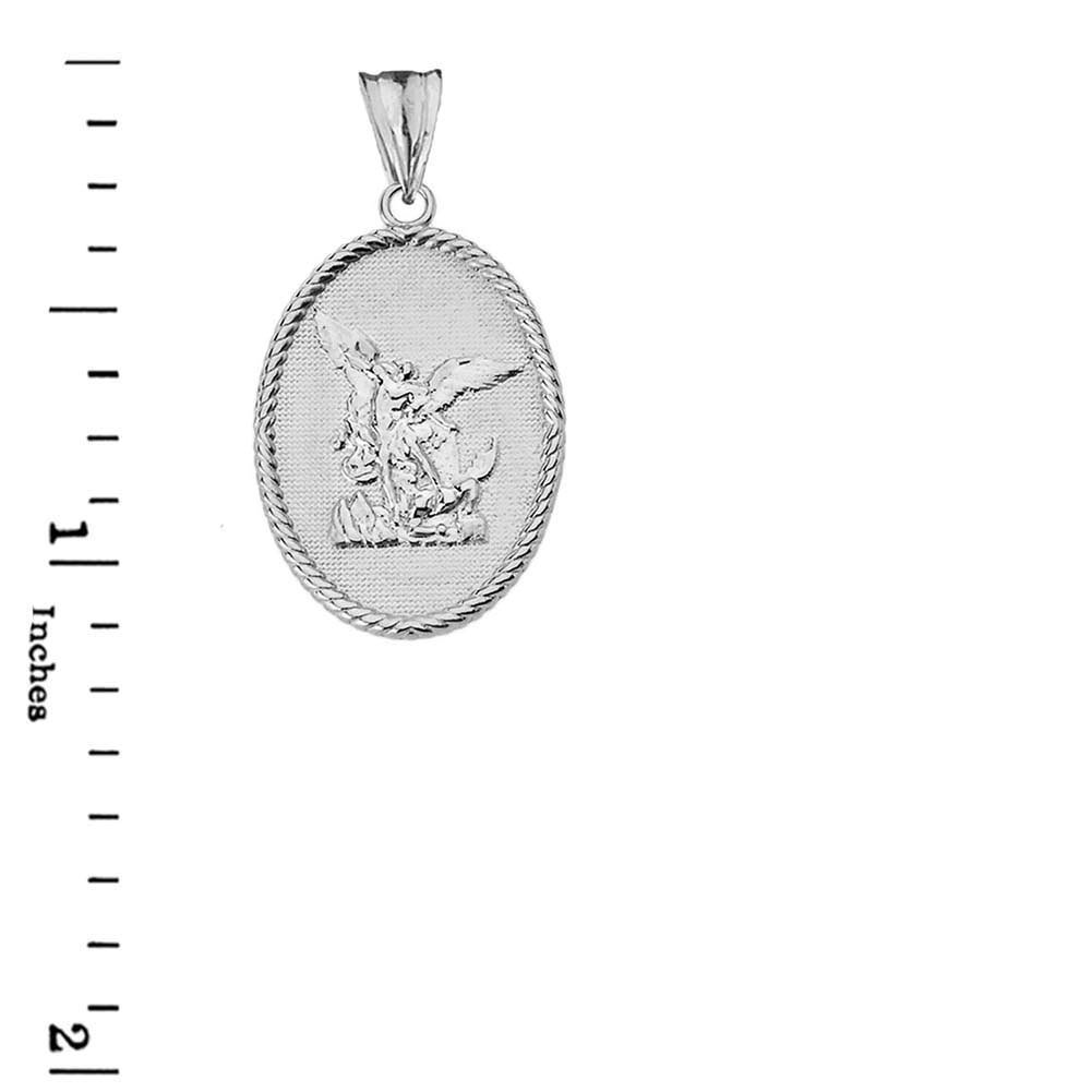 CaliRoseJewelry 10k Gold Reversible St Michael and Ephesians 6:10 Verse in Rope Pendant