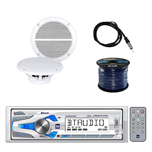 Dual Single-DIN In-Dash Marine Digital Media AM/FM Receiver with Bluetooth with Enrock Marine Dual Weather-Resistant Marine Speakers 60W Pair, Enrock Audio 50' 16G Speaker Wire & Enrock Marine (1/2 Dual Cone Marine Speakers)