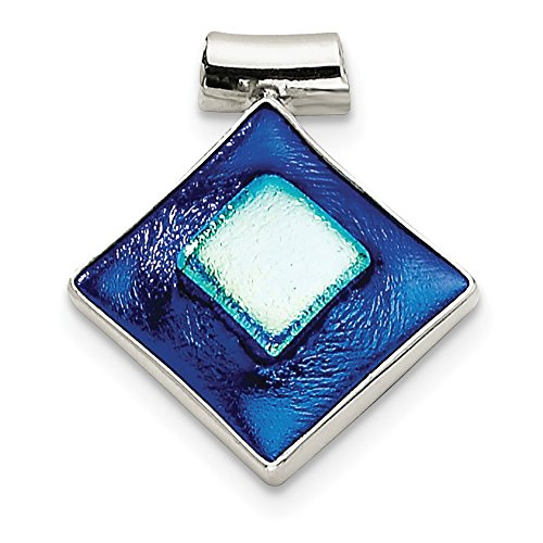 (Solid 925 Sterling Silver Blue Dichroic Glass Diamond-Shaped Pendant (27mm x 30mm) )