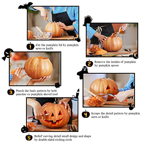 HuaQi Halloween Pumpkin Carving Kit, Halloween Heavy Duty Stainless Steel Pumpkin Carving Tools with Carrying Case
