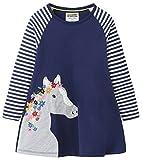Fiream Girls Cotton Casual Longsleeve Stripe Applique Dresses(Navy,4T/4-5YRS)