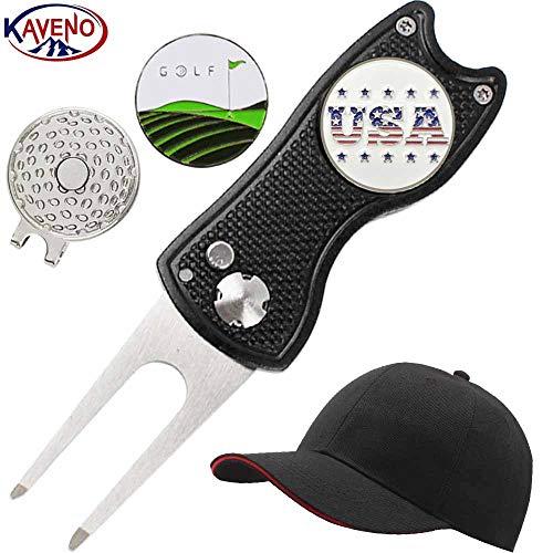 Cap Golf Ball Divot Tool (kaveno Golf Divot Tool, Golf Hat Magnetic Golf Hat Clip,Two Golf Ball Markers (hat only Black))